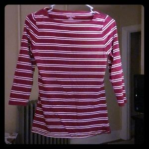 Dark Red and White Striped 3/4 Sleeve Shirt!